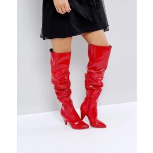 ミスセルフフリッジ レディース ブーツ・レインブーツ シューズ Miss Selfridge Over The Knee Patent Boot|revida