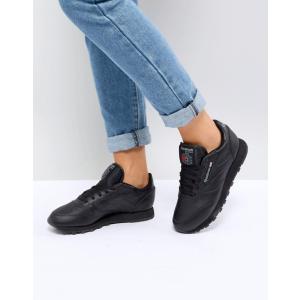 リーボック レディース スニーカー シューズ Reebok Classic Leather Sneakers In Black Leather revida
