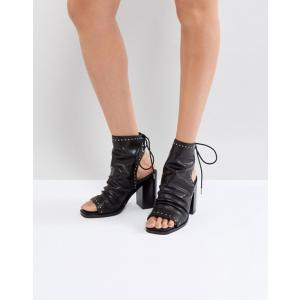 ソルソナ レディース ブーツ・レインブーツ シューズ Sol Sana Voyager Black Leather Heeled Open Toe Boots|revida