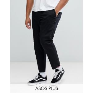 エイソス メンズ カジュアルパンツ ボトムス ASOS PLUS Slim Cropped Chinos In Black|revida