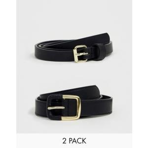 エイソス レディース ベルト アクセサリー ASOS 2 Pack Skinny Waist Belt and Jeans Belt in Water Based PU|revida