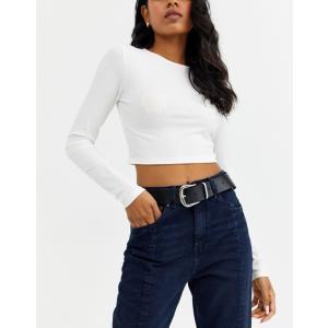 エイソス レディース ベルト アクセサリー ASOS Leather Tipped Jeans Belt with Shiny Silver Metal|revida