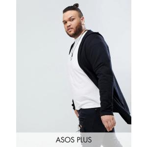 エイソス メンズ カーディガン アウター ASOS DESIGN Plus knitted hooded cardigan with curved hem in black|revida