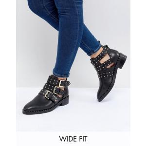 エイソス レディース ブーツ・レインブーツ シューズ ASOS DESIGN Aries Wide Fit Leather Studded Ankle Boots revida