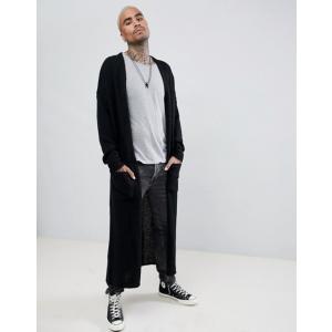 エイソス メンズ カーディガン アウター ASOS DESIGN Textured Super Longline Cardigan In Black|revida