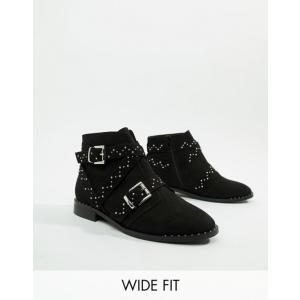 エイソス レディース ブーツ・レインブーツ シューズ ASOS DESIGN Wide Fit Adrift Studded Ankle Boots revida