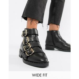 エイソス レディース ブーツ・レインブーツ シューズ ASOS DESIGN Avid Wide Fit Leather Studded Ankle Boots revida