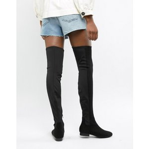 エイソス レディース ブーツ・レインブーツ シューズ ASOS DESIGN Wide Leg Kelby flat elastic over the knee boots|revida