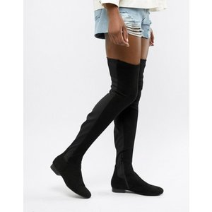 エイソス レディース ブーツ・レインブーツ シューズ ASOS DESIGN Slim Kelby flat elastic over the knee boots|revida
