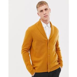エイソス メンズ カーディガン アウター ASOS DESIGN lambswool shawl cardigan in mustard|revida