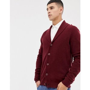 エイソス メンズ カーディガン アウター ASOS DESIGN lambswool shawl cardigan in burgundy|revida