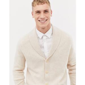 エイソス メンズ カーディガン アウター ASOS DESIGN lambswool shawl cardigan in oatmeal|revida
