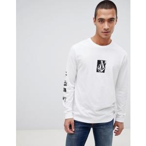 ボルコム メンズ Tシャツ トップス Volcom long sleeve t shirt in white|revida