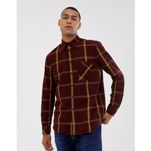 ヌーディージーンズ メンズ シャツ トップス Nudie Jeans Co Sten window check shirt in plum|revida