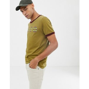 ヌーディージーンズ メンズ Tシャツ トップス Nudie Jeans Co Kurt logo ringer t-shirt in khaki|revida