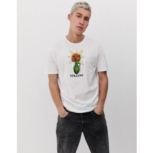 ボルコム メンズ Tシャツ トップス Volcom Flower t-shirt in white|revida