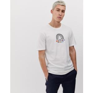 ボルコム メンズ Tシャツ トップス Volcom Ozzy rainbow t-shirt with chest print in white|revida