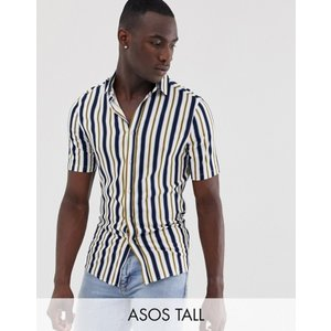 エイソス メンズ シャツ トップス ASOS DESIGN Tall regular fit stretch stripe shirt in white|revida