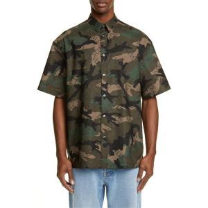 ヴァレンティノ メンズ シャツ トップス Valentino Grid Logo Camouflage Shirt|revida
