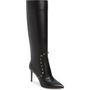 ヴァレンティノ レディース ブーツ・レインブーツ シューズ VALENTINO GARAVANI Rockstud Knee High Pointed Toe Boot (Women) revida
