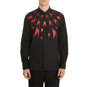 ニールバレット メンズ シャツ トップス Neil Barrett Thunderbolt Slim Fit Shirt|revida