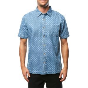 オニール メンズ シャツ トップス O'Neill Palm Brawl Print Short Sleeve Denim Button Up Sport Shirt|revida