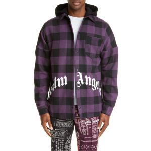 パーム・エンジェルス メンズ シャツ トップス Palm Angels Buffalo Check Logo Hooded Shirt|revida