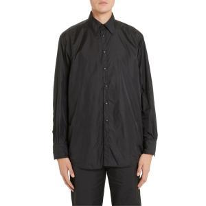 ヴァレンティノ メンズ シャツ トップス Valentino Black Snap-Up Nylon Shirt|revida