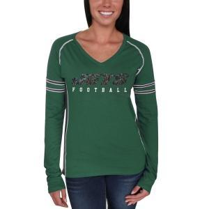 マジェスティック レディース Tシャツ トップス New York Jets Majestic Women's Deep Fade Route Long Sleeve T-Shirt