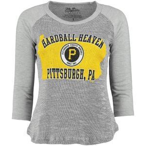 マジェスティック レディース Tシャツ トップス Pittsburgh Pirates Majestic Threads Women's State Heaven Tri-Yarn Raglan