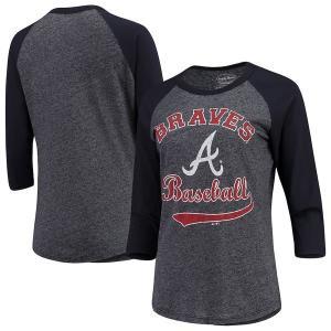 マジェスティック レディース Tシャツ トップス Atlanta Braves Majestic Threads Women's Team Baseball Three-Quarter Raglan Sleev