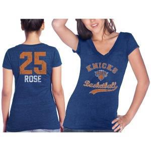 マジェスティック レディース Tシャツ トップス New York Knicks Derrick Rose Majestic Threads Women's Name & Number Tri-Blend V-