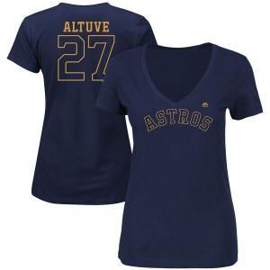 マジェスティック レディース Tシャツ トップス Jose Altuve Houston Astros Majestic Women's 2018 Gold Program Plus Size Name & N