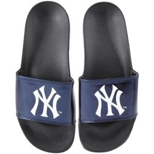 フォーエバーコレクティブルズ レディース サンダル シューズ New York Yankees Women's Metallic Slide Flip Flops revida