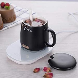 保温コースター ウォームカップ マグカップ 低エネルギー 保温用 プレゼント オフィス家庭用 (ブラックマグカップ+保温コースター)|revolmarket