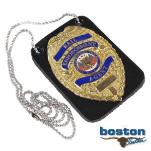 ボストンレザー バッジホルダー 4050-1 ネックチェーン付 四角 BOSTON ポリスバッジケース 警察バッジケース ポリスバッチケース revolutjp