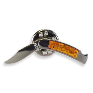ピンバッジ ロックバックナイフ ラペル オレンジ Lockback Knife   ピンズ ミリタリーバッジ ミリタリーバッチ 記章 徽章 襟章 revolutjp
