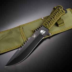 アウトドアナイフ 直刃 ブラック ファイヤースターター付 ストレート ブラックコーティング ステンレス 登山 魚釣り フィッシングナイフ|revolutjp