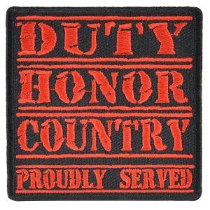ミリタリーパッチ Duty Honor Country アイロンシート付 ミリタリーワッペン アップリケ ジューティー・オナー・カントリー RED|revolutjp
