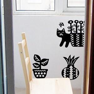 ウォールステッカー ネコ 植物 動物 ポップ キュート シール 壁|rewall