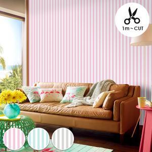 不織布ビニール壁紙  TWF1001 Pastel Stripe Pink(パステルストライプ ピン...
