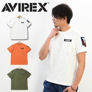 SALE AVIREX アビレックス ネーヴァルパッチ 半袖Tシャツ 胸ポケット メンズ ポケットT...