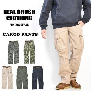 REAL CRUSH CLOTHING ベルト付き カーゴパンツ ツイル ユーズドダメージ加工 メン...