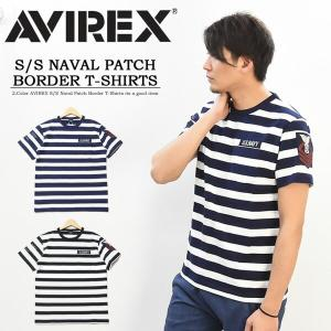 SALE AVIREX アビレックス ネーヴァルパッチ ボーダー 半袖Tシャツ 胸ポケット メンズ ...