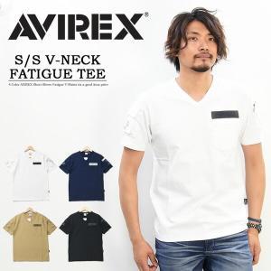 AVIREX アビレックス 半袖 ファティーグTシャツ Vネック  メンズ 半袖Tシャツ ポケットTシャツ 6143386 rexone