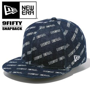NEW ERA ニューエラ 9FIFTY ロゴオールオーバー インディゴデニム 総柄 950 キャップ 帽子 12108854 ホワイトプリント|rexone