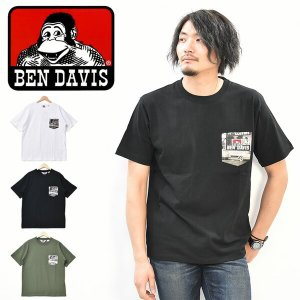 BEN DAVIS ベンデイビス フォト柄 胸ポケット 半袖 Tシャツ ワンポイント 半T ポケT 半袖Tシャツ 0580007 rexone
