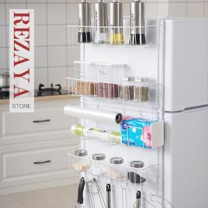 冷蔵庫サイドラック 棚 キッチンラック キッチン収納  キッチンフック  ラップホルダー キッチンペ...