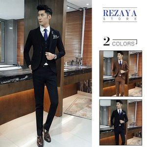 セットアップ メンズ スーツ フォーマル   スリーピース   スリム   ワンボタン  テーラード ビジネススーツ スラックス 通  勤 結婚式 紳士服|rezayastore