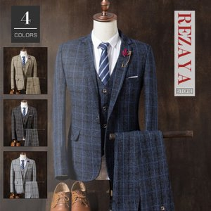 セットアップ メンズ スーツ フォーマル   3点セット  スリム  テーラード ビジネススーツ スラックス 通  勤 結婚式 紳士服|rezayastore